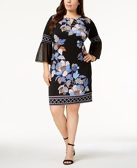 Jm Collection Plus Size Embellished Bell Sleeve Dress Created For Macy's Black Delicate Dot