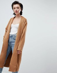 Weekday Drapey Knit Coat In Camel Beige