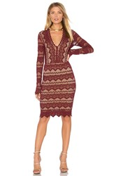 Nightcap Sierra Lace Deep V Dress Red