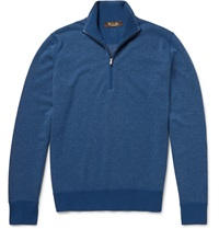 Loro Piana Roadster Zip Collar Striped Cashmere Sweater Blue