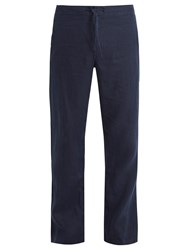 Onia Collin Drawstring Linen Trousers Navy
