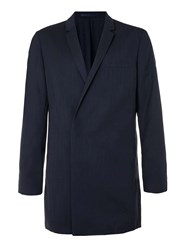 Topman Lux Navy Silk Mix Duster Coat Blue