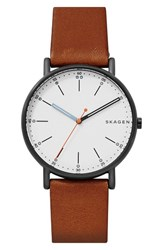 Skagen Men's Signatur Leather Strap Watch 40Mm Brown White Black