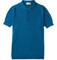 John Smedley Medley Zuber Triped Knitted Cotton Polo Hirt Cobalt Blue