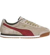 Puma Roma Suede Trainers Beige Maroon Suede