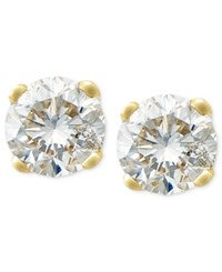 Macy's Round Cut Diamond Stud Earrings In 10K White Or Yellow Gold 1 4 Ct. T.W.