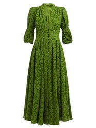 Cult Gaia Willow Puff Sleeve Eyelet Lace Maxi Dress Green