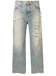 R 13 R13 Cheryl Ripped Cropped Jeans Blue