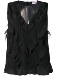 Red Valentino Sleeveless Ruffled Blouse Black