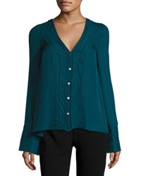Cinq A Sept Emerson V Neck Silk Blouse Green Topaz