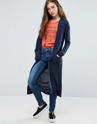 Blend She Hannah Long Open Cardigan Peacoat Blue