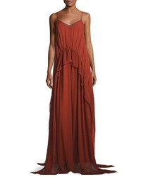 Elizabeth And James Catriona Sleeveless Silk Drawstring Ruffle Gown Brick