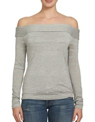 1.State Striped Off The Shoulder Top Grey