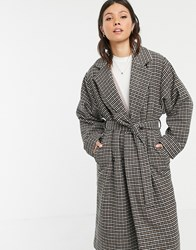 Pieces Oversized Belted Check Coat Black