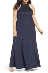Marina Plus Size Women's Embellished Halter Gown