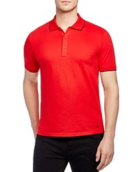 Hugo Delorian Stretch Cotton Tipped Slim Fit Polo Shirt Red
