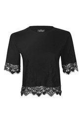 Topshop Tall Lace Petal T Shirt Black