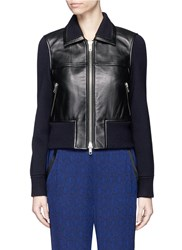 3.1 Phillip Lim Wool Knit Sleeve Lambskin Leather Jacket Black