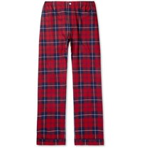 Sleepy Jones Marcel Piped Checked Cotton Flannel Pyjama Trousers Red
