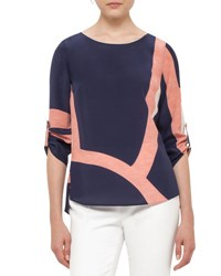 Akris Punto Coastal Chart Print Silk Top Denim