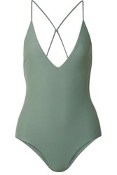Dion Lee Fine Knot Swimsuit Gray Green