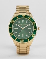 26e1b461799434 Asos Design Bracelet Watch In Brushed Gold With Contrast Green Dial And  Bezel