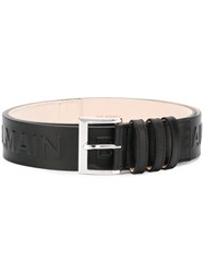 Balmain Logo Embossed Belt Black