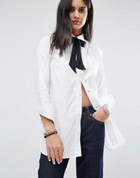 G Star Tunic Shirt With Tie Detail White