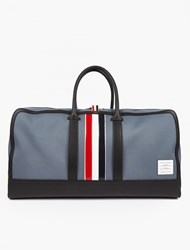 Thom Browne Canvas And Leather Holdall Grey