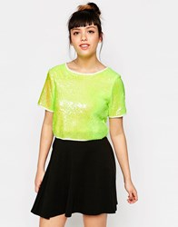 Glamorous Top In Sequins Neon Yellow Sequin