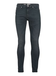 Topman Blue Dark Wash Green Spray On Skinny Jeans