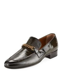 Tom Ford Patent Leather Curb Chain Loafer Brown