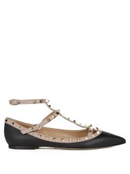Valentino Rockstud Leather Flats Black Nude