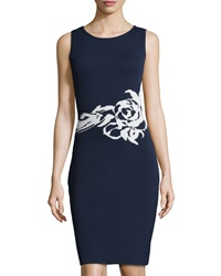 Marc New York By Andrew Marc Flower Detail Sleeveless Sweater Dress Navy