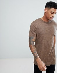 Asos Knitted T Shirt In Tan Twist