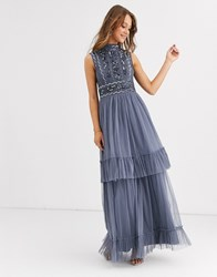 Frock And Frill High Neck Maxi Dress With Embellished Detail Blue
