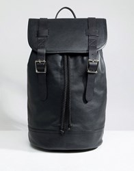 Asos Design Backpack In Leather In Black With Double Straps