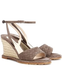 Bottega Veneta Intrecciato Suede Wedge Sandals Brown