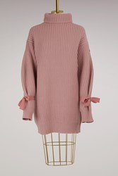 Moncler Wool And Cashmere Knit Dress Pink