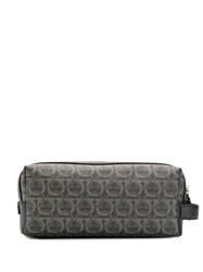 Salvatore Ferragamo Gancini Pattern Wash Bag Black