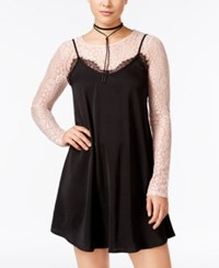 Material Girl Juniors' 2 Pc. Lace Trim Slip Dress Only At Macy's Black Combo