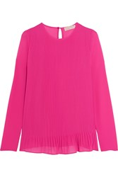 Michael Michael Kors Pleated Crepe Top Pink