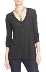 Free People Women's 'Anna' Burnout High Low Tee Black