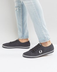 Fred Perry Kingston Twill Plimsolls In Charcoal Charcoal Grey