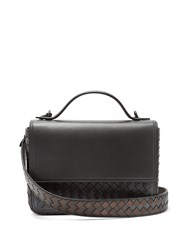 Bottega Veneta Intrecciato Woven Leather Satchel Silver Multi