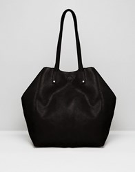Asos Soft Shopper Bag With Removable Clutch Black