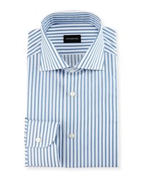 Ermenegildo Zegna Bold Stripe Dress Shirt White Blue