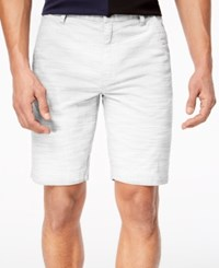 Inc International Concepts I.N.C. Flat Front Texture Stripe Shorts White Pure