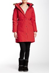 The North Face Tremaya Faux Fur Hooded Parka Red