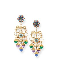 Jose And Maria Barrera Multicolor Chain Clip On Chandelier Earrings